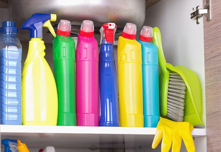 Cleaning products stored safely