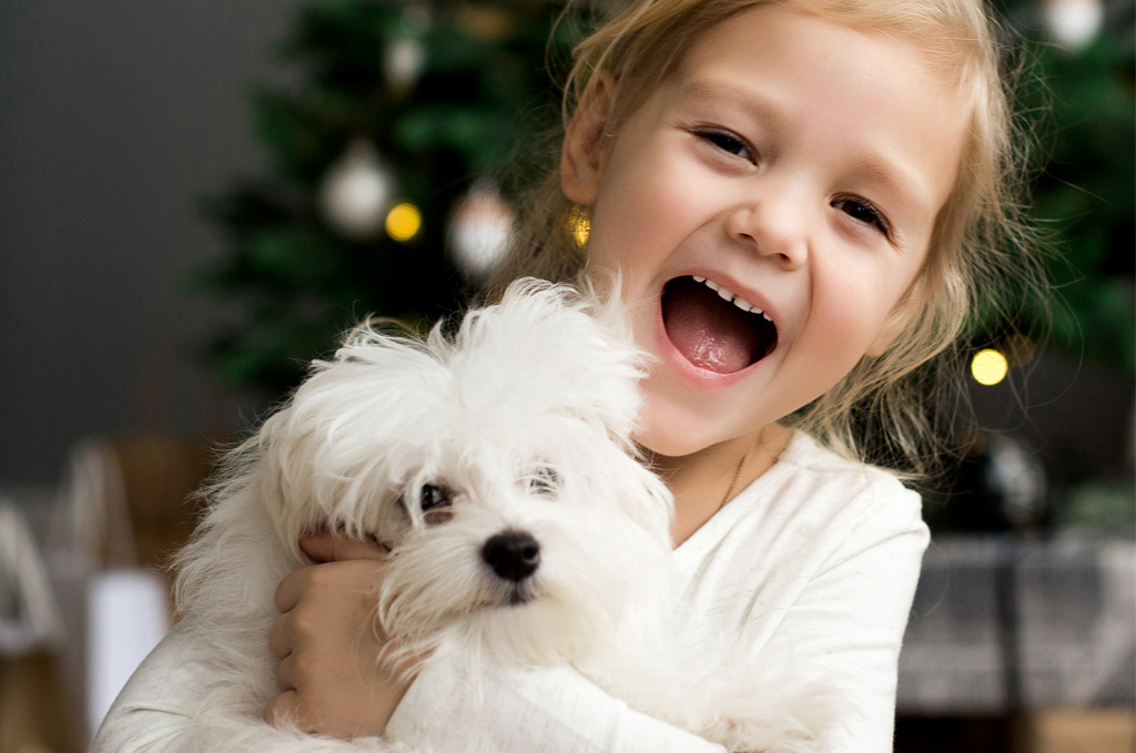 Little girl getting a puppy for Christmas